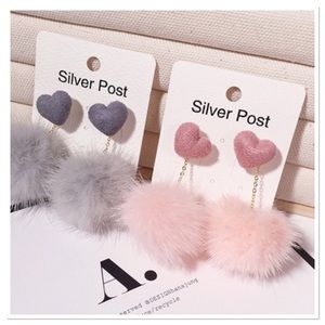 Pink Heart Pom Pom Dangle Earrings